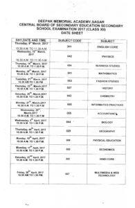 Date Sheet 12th class, Dma Sagar